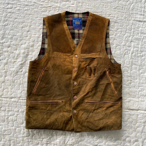 Vintage 1990s Five Rally Reversible Leather Vest