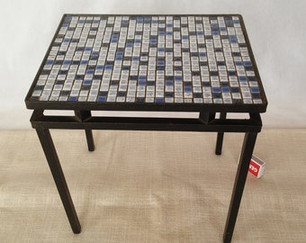 Table With Mosaic Iron End Plant Stand Metal Vintage Small