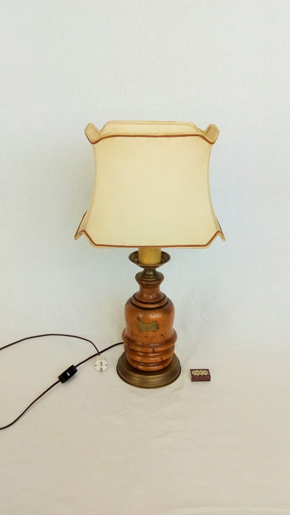 High Lamp With A Shade, Very Large Lamp, Electric Table Lamp, Old Wooden  Lamp With A Rectangular Shade, Vintage Bedside Table Lamp, Old Lamp