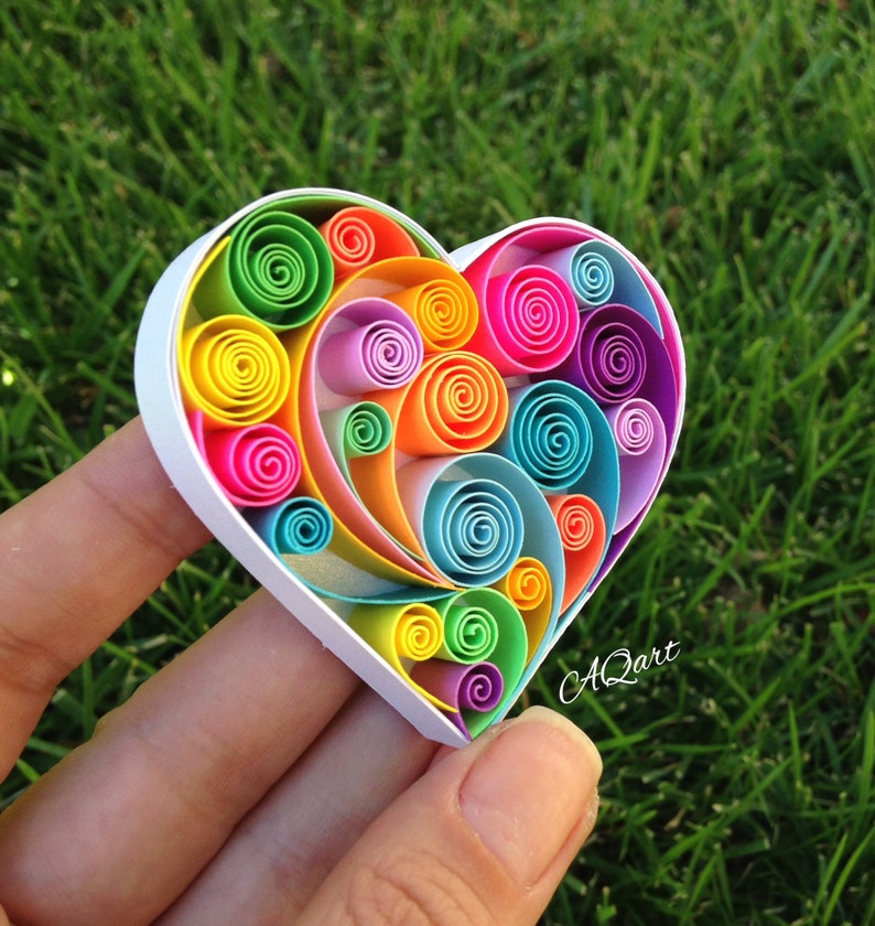 mini quilling art rainbow heartunique giftart magnet