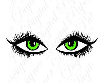 Green Eyes SVG And Studio 3 Cut File Cutouts Files Design Logo For Silhouette Cricut SVGS Disney Decals Face Digital Download