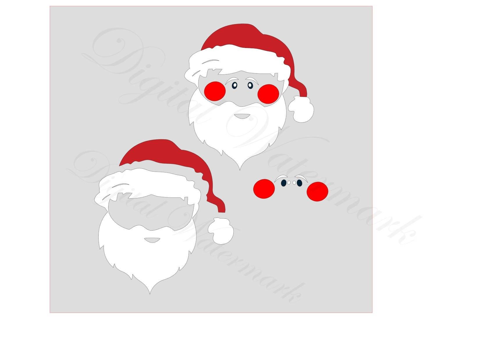 Santa Face SVG & Studio 3 Cut File for Silhouette Cricut ...