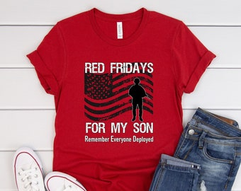 0eed7538 Red Friday Shirt Support Son For Parents / American Flag Military Family / Remember  Everyone Deployed / Red Friday Print / Wear Red Gift