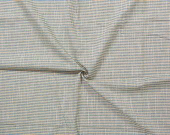 Yellow and Blue Lining Handloom Cotton Stripe Khadi Fabric-40007