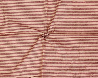 Beige and Red Lining Handloom Cotton Stripe Khadi Fabric-40003