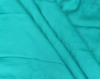 Cyan Plain Handloom Cotton Rayon Fabric-40102