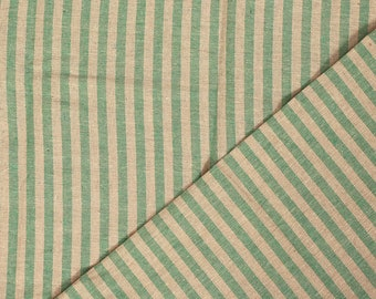 Green and Beige Lining Handloom Cotton Stripe Khadi Fabric-40004