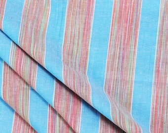 Sky Blue-Red and Green Dyed Stripe Handloom Cotton Khadi Fabric-40024