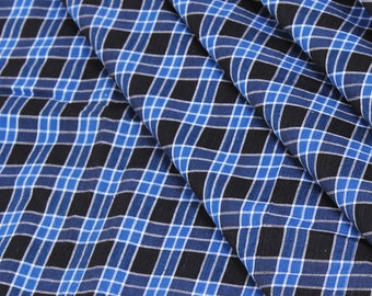 Blue-Black and White Checks Handloom Cotton Khadi Fabric-40048