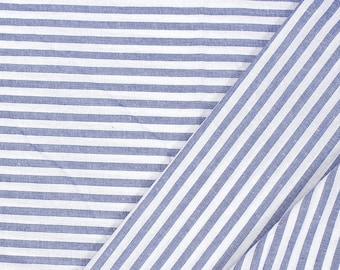 Blue and White Lining Handloom Cotton Stripe Khadi Fabric-40013