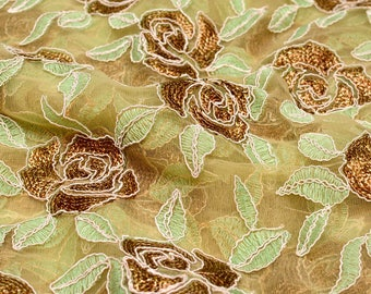 Golden-Mint Green and Beige leaf Pattern Embroidery Net Fabric-216