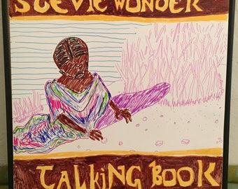 Stevie Wonder Talking Book Hand Drawn Record Art Framed