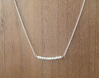 Tiny pearl bar necklace/ seed Pearl necklace/ beaded bar necklace/ freshwater pearl necklace/bar necklace/ bridesmaid gift