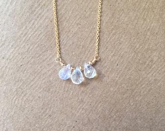 Rainbow Moonstone necklace/ Tiny tear drop moonstone necklace/ dainty gemstone necklace