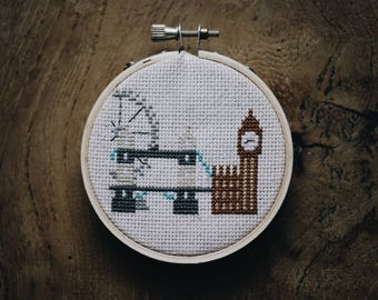 Love From London Completed Cross Stitch