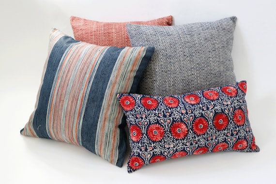 Bohemian Artisan Collection Red And Blue Decorative Pillows Etsy Awesome Red And Blue Decorative Pillows