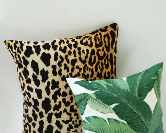Cheetah Velvet Banana Leaves Tropical Throw Pillows Etsy Amazing Tropical Throw Pillow Covers