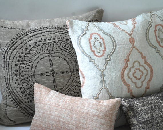 Barkcloth Collection Throw Pillow Covers 40x40 40 More Etsy Inspiration Etsy Pillow Covers 20x20