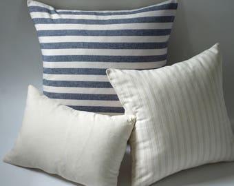 Marine & Oatmeal // Coordinating Pillow Sets // Accent Throw Pillow Set // Nautical Pillow Covers
