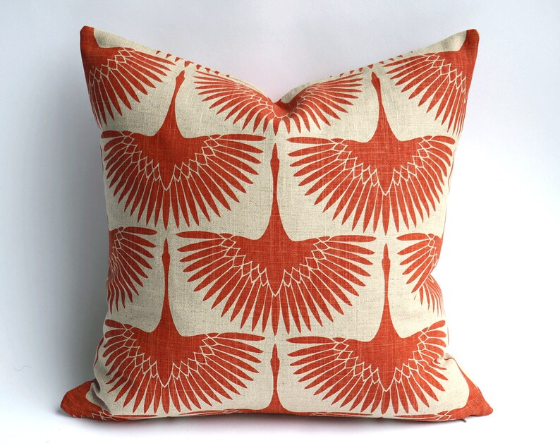 47960655a87 Burnt Orange Mid Century Swans on Linen Pillow Covers    Art