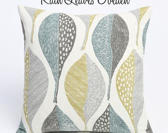 Rain Collection // Decorative 26x26 Pillow Covers + 10 Other Sizes //Leaf Pattern Euro Shams // Coordinating Pillows