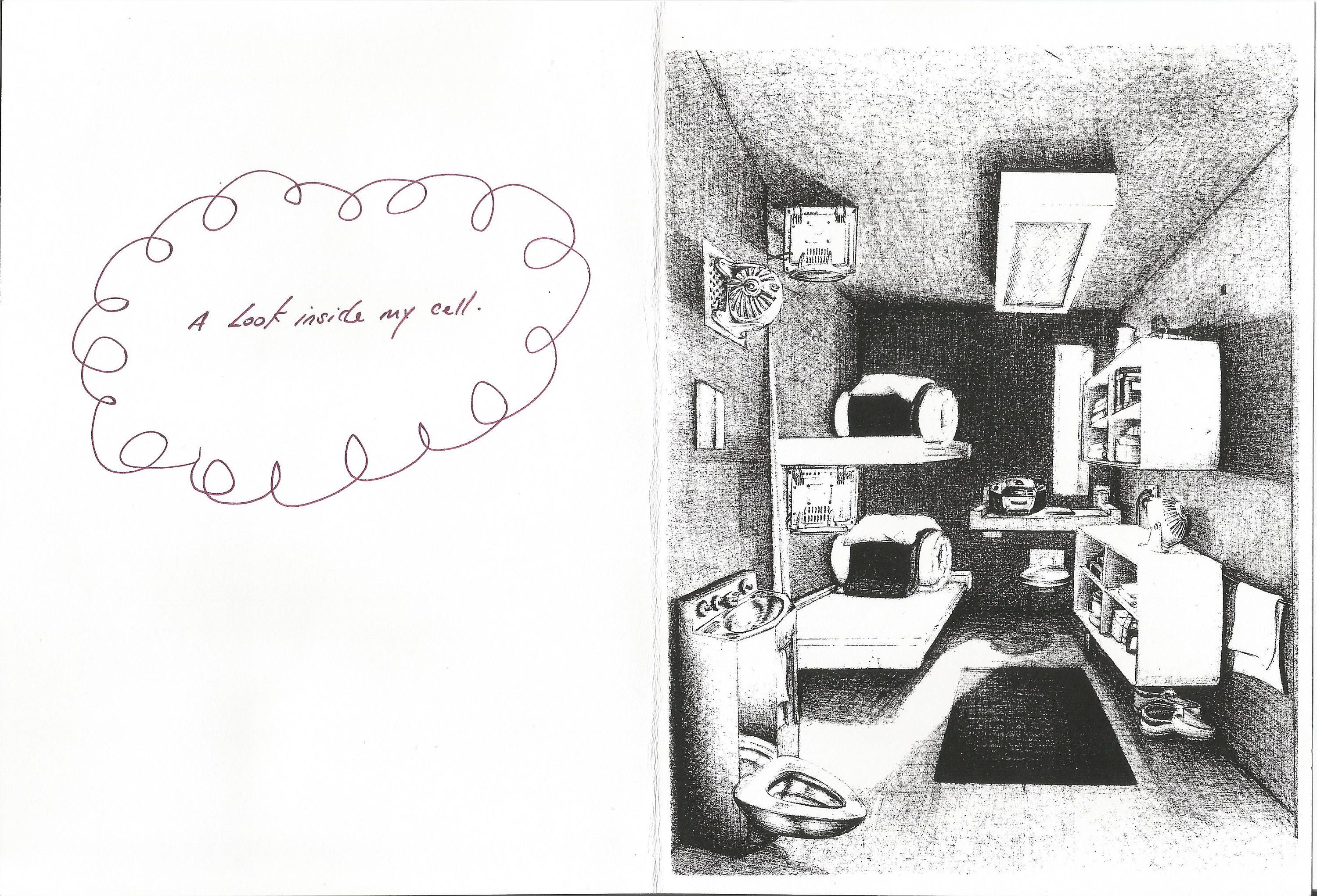 Greeting Card W Inmate Cell Illustration Etsy