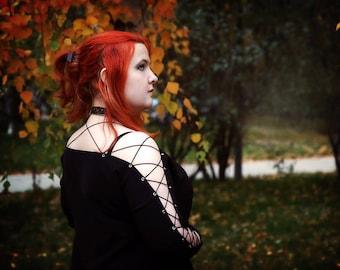 Black Gothic dress, Little black dress, Jersey Dress, Halloween dress, Designer Dress in Gothic Style.