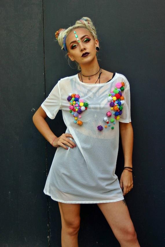 mesh t shirt dress white