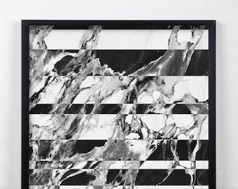 Black and White Marble Print