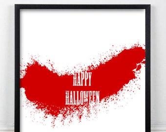 Happy Halloween Splatter Print