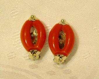 Vintage Orange Clip Earrings
