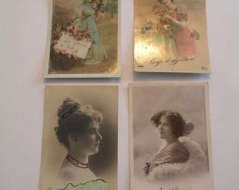 French Postcards 1913-1920 Set of 4