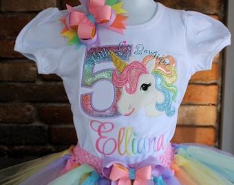 Unicorn First Birthday Dress Unicorn Birthday Outfit Unicorn Theme Applique Shirt Pastel Rainbow Unicorn Tutu Ribbon Tutu