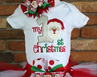 Babys 1st Christmas Outfit,My First Christmas,Santa Claus Outfit,Baby Girls Outfit,Red White Tutu,Babys First Christmas,Holiday Tutu Outfit