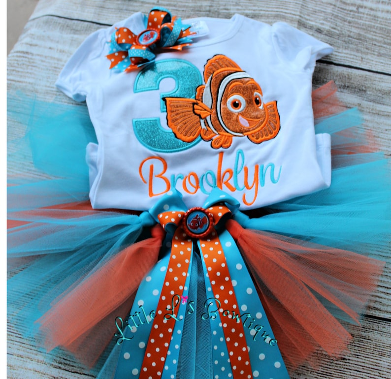 Finding Nemo Birthday Outfit Girls,Disneys Finding Nemo Birthday Outfit,Finding Nemo Tutu Set,Smash Cake,Babys Finding Nemo Birthday Tutu