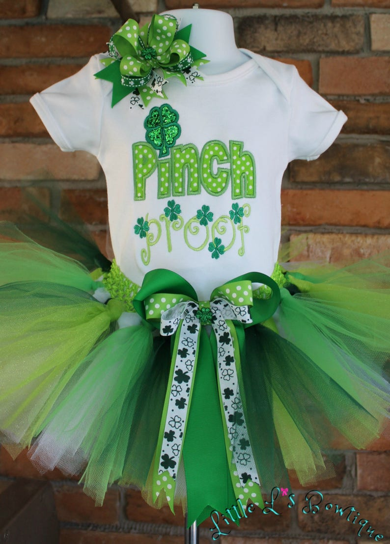 90e109792446 St.Patricks Day Outfit GirlPinch ProofShamrock TutuGreen