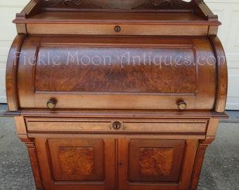 Walnut and Burl Antique Victorian Barrel Cylinder Roll Top Desk