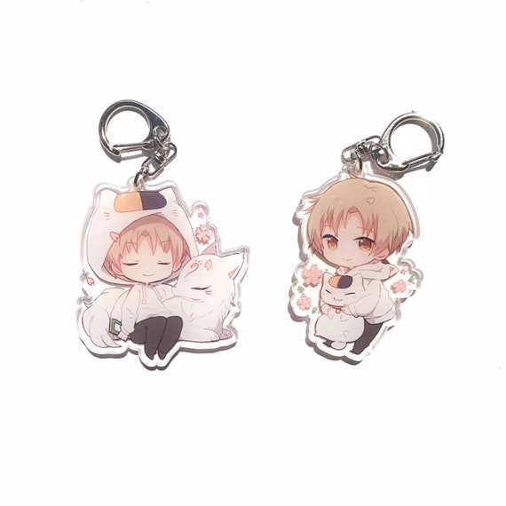 Anime natsume yuujinchou acrylic Keychain Key Ring Two faces Bag Ornament