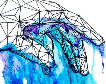 WaterColor Painting - Geometric Hand