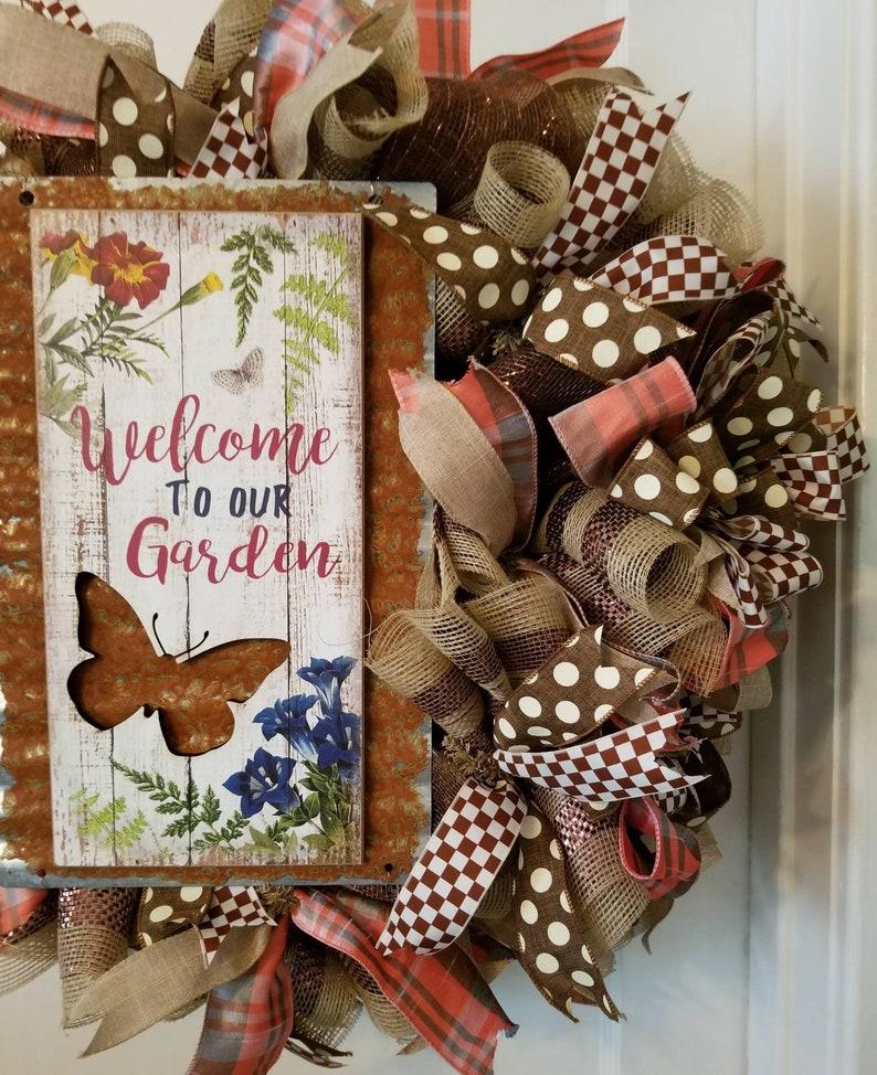 Rustic style Wreath, Garden Wreath Farmhouse Wreath Door Hanger,Wreath Spring Wreath Summer Wreath Front Door Wreath