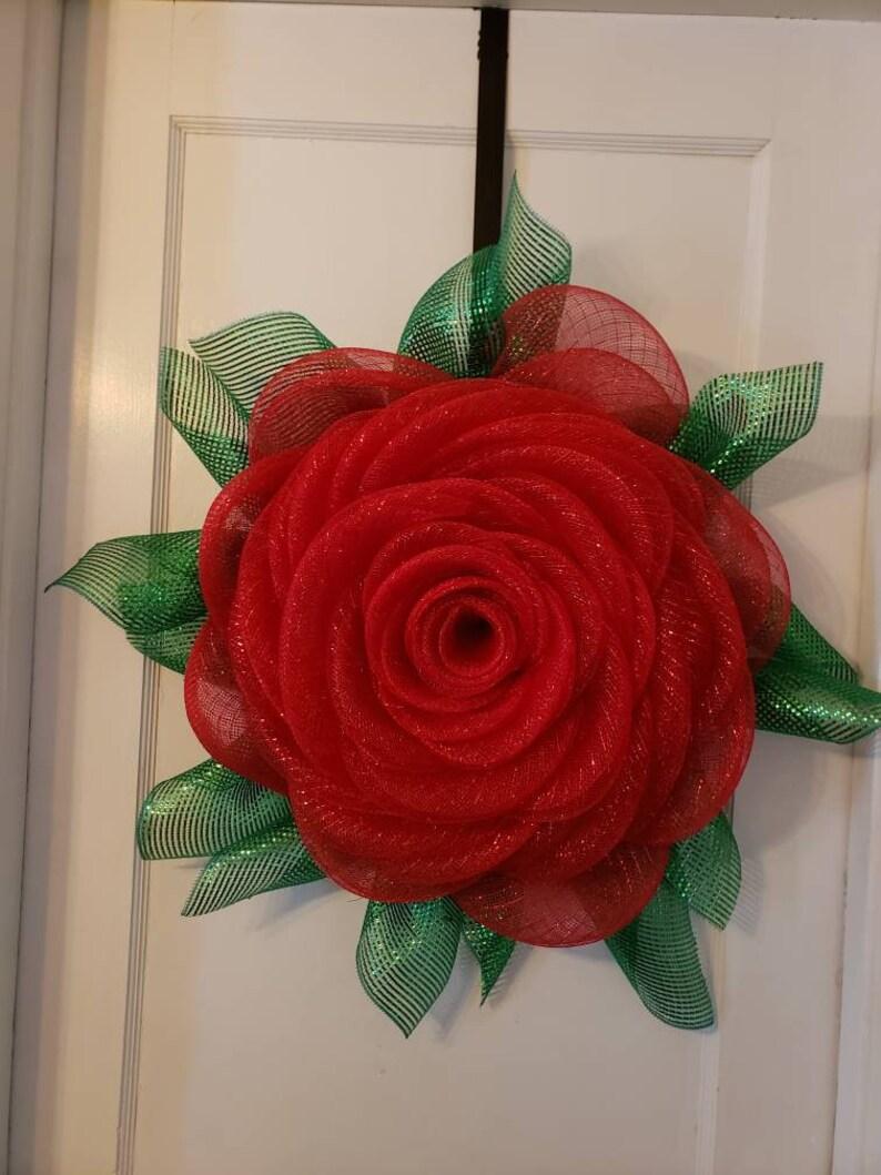 Red Rose Flower Wreath Front Door Wreath Spring Wreath Etsy