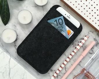 Felt iPhone Case iPhone 8 Case iPhone 8 Plus Case iPhone 7 Case iPhone 7 Plus Case iPhone 6S Case iPhone 6S Plus Case Wallet Sleeve Black