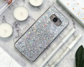 Glitter Samsung Galaxy Case Galaxy S9 Case Galaxy S9 Plus Case S9+ Galaxy S8 Case Galaxy S8 Plus Case S8+ Case Galaxy Note 8 Case Silver