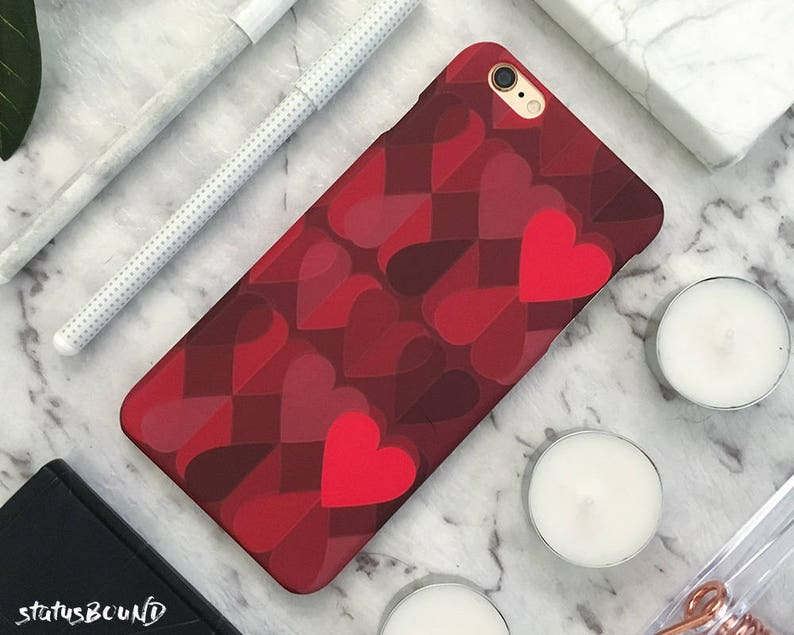 size 40 c6c5a 34db9 Love Heart iPhone Case iPhone 8 Case iPhone 8 Plus Case iPhone 7 Case  iPhone 7 Plus Case iPhone 6S Case iPhone 6S Plus Case Matte Red