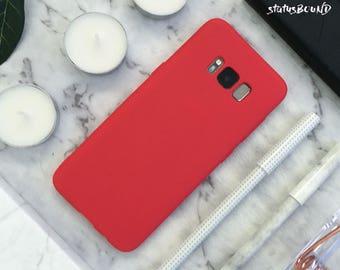 Silicone Samsung Galaxy Case Galaxy S9 Case Galaxy S9 Plus Case S9+ Galaxy S8 Case Galaxy S8 Plus Case S8+ Case Galaxy Note 8 Note8 Case Red