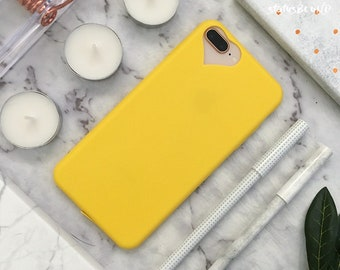 Love Heart iPhone Case iPhone 8 Case iPhone 8 Plus Case iPhone 7 Case iPhone 7 Plus Case iPhone 6S Case iPhone 6S Plus Soft Yellow Silicone