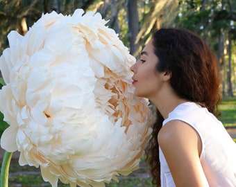 Giant Paper Flower with Stem   Huge Paper Peony Photo Prop   Free Standing Paper Flower   Wedding Paper Flower Backdrop   Party Photo Booth