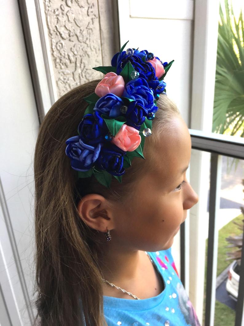 Wedding Flower Crown Floral Head Wreath Blue Flower Crown Floral Crown Headband Bridesmaid Hair Accessories Flower Crown Adult