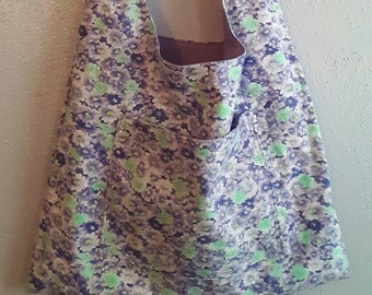Hobo style shoulder bag purple floral print fabric