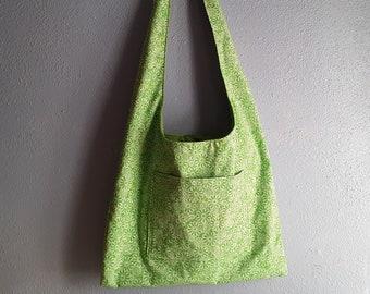 Fabric shoulder bag green floral print